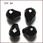 Imitation Austrian Crystal Beads, Grade AAA, Faceted, Drop, Black, 6x8mm, Hole: 0.7~0.9mm