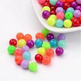 Perlas de acrílico fluorescentes, redondo, color mezclado, 8mm, Agujero: 1.5 mm; aproximamente 1700 unidades / 500 g