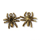 Halloween Jewelry Tibetan Style Alloy Pendants, Lead Free & Nickel Free & Cadmium Free, Spider, Antique Bronze Color, about 17.5mm long, 19mm wide, 3mm thick, hole: 1.5mm