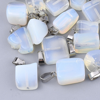 Opalite Pendants, with Stainless Steel Snap On Bails, Nuggets, 15~35x10~20x5~15mm, Hole: 3x7.5mm