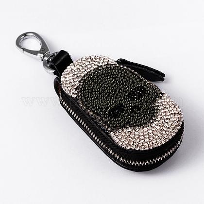 Oval with Skull Leather Rhinestone KeychainKEYC-K004-03-1