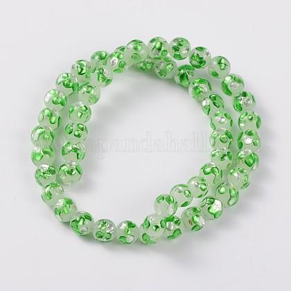 手作り銀箔ガラスラウンドビーズLAMP-L041-02A-1