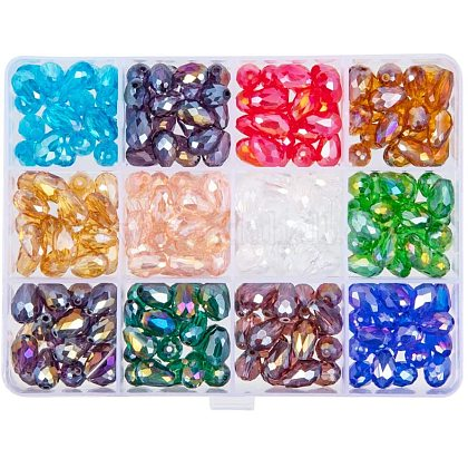 PandaHall Elite 240pcs 12 Colors Drop Electroplate Glass Beads for Necklace Jewelry Making (8 x 10mmEGLA-PH0003-08-1