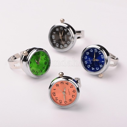 Alloy Snap Finger Ring Watch RJEW-JR00075-02-1
