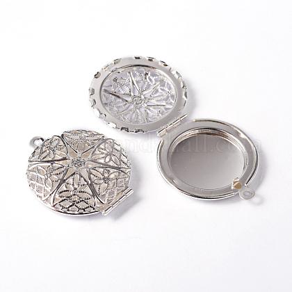 Redondas plana hueca de filigrana de bronce colgantes difusor medallónX-ECF134-2S-1