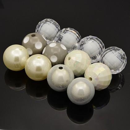 Redondas abalorios de acrílico bubblegum gruesoMACR-X0006-01-1