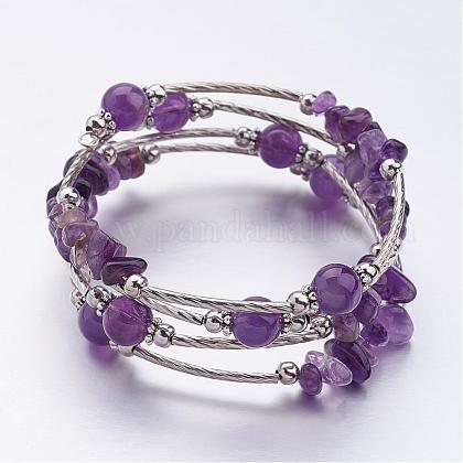 Four Loops Wrap Amethyst Beads BraceletsBJEW-JB02590-05-1
