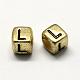 Antique Golden Plated Large Hole Acrylic Alphabet European BeadsPACR-Q099-M02-3