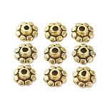チベット風のビーズキャップ, 鉛フリー&カドミウムフリー, 花, アンティーク黄金, 直径約8mm, 厚さ3mm, 穴:2mm