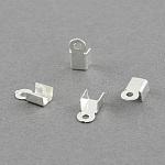 アイアン製コードエンドパーツ, 銀色のメッキ, 6x3mm, 穴:1mm