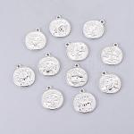 Tibetan Style Pendants, Lead Free & Cadmium Free, Flat Round with Mixed Constellation/Zodiac Sign, Platinum, 20x17x2mm, Hole: 2mm