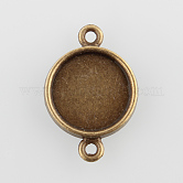 Flat Round Alloy Cabochon Connector Settings, Plain Edge Bezel Cups, Nickel Free, Antique Bronze, Tray: 14mm; 24.5x17x2mm, Hole: 2mm