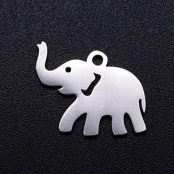 Pendentifs en 201 acier inoxydable, éléphant, couleur inoxydable, 12x17x1mm, Trou: 1.5mm