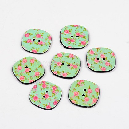 2-Hole Square with Rose Pattern Acrylic Buttons BUTT-F055-08B-1