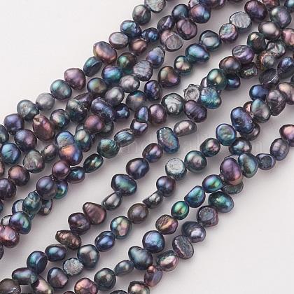 Hebras de perlas de agua dulce cultivadas naturales electrochapadasPEAR-G007-08-1