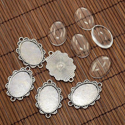 25x18 mm couverture ovale dôme de verre transparent et d'antiquités alliage d'argent supports de connexion de cabochon jeuxDIY-X0082-AS-NF-1
