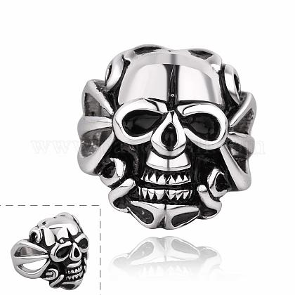 Fashionable 316L Stainless Steel Skull Rings Wide Band Rings for MenRJEW-BB10167-9-1
