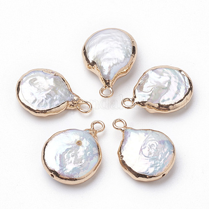 Colgantes de perlas keshi de perlas barrocas naturales electrochapadasX-PEAR-Q008-08G-1