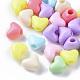 Opaco poliestireno (ps) camas de plástico, corazón, color mezclado, 8.5x11x7.5mm, Agujero: 3.5 mm; aproximamente 1500 unidades / 500 g