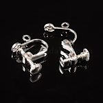 Brass Clip-on Earring Findingsfor Non-Pierced Ears, Silver Color Plated, about 13.5mm wide, 17mm long, 5mm thick, Hole: about 1.2mm