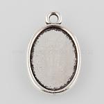 Tibetan Style Antique Silver Alloy Flat Oval Pendant Cabochon Settings, Plain Edge Bezel Cups, Antique Silver, Tray: 18x13mm; 24.5x16x2mm, Hole: 2mm; about 675pcs/1000g