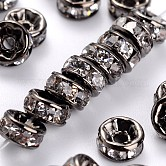 Brass Rhinestone Spacer Beads, Grade AAA, Straight Flange, Gunmetal, Rondelle, Crystal, 5x2.5mm, Hole: 1mm