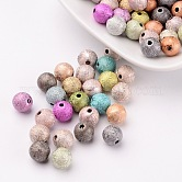Spray Painted Acrylic Beads, Matte Style, Round, Mixed Color, Size: about 8mm in diameter, hole: 1mm, about 2160pcs/500g