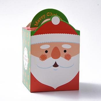 クリスマステーマキャンディギフトボックス, 包装箱, クリスマスプレゼントスイーツクリスマスフェスティバルパーティー, 父のクリスマス/サンタクロース模様, カラフル, 10.2x8.3x8.2cm