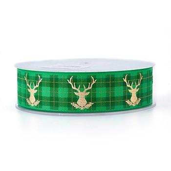Cinta grosgrain de poliéster para reno / ciervo de navidad, verde, 25 mm; aproximamente 100 yardas / rodillo