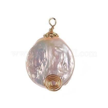 Colgantes de perlas keshi de perlas barrocas naturalesX-PALLOY-JF00393-1