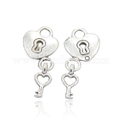 Colgantes de corazón de aleación de estilo tibetanoPALLOY-J377-54AS-1