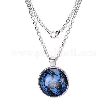 Los collares de vidrio plano y redondo dragón y Phoenix patrónX-NJEW-N0051-010H-02-1