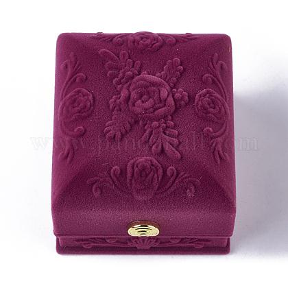 Роза цветок узор бархатное кольцо шкатулкиVBOX-O003-03-1