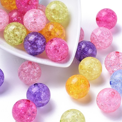 Transparent Crackle Acrylic Beads CACR-R008-20mm-M-1