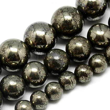 Natural Pyrite Beads Strands G-S265-03-8mm-1