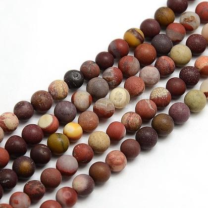 Chapelets de perles en mokaite naturel rondes dépoliesG-M064-8mm-11-1