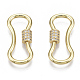 Brass Micro Pave Clear Cubic Zirconia Screw Carabiner Lock Charms ZIRC-T013-02G-NF-1