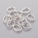 Tibetan Style Bead Frames, Lead Free & Cadmium Free & Nickel Free, Oval, Silver Color Plated, 19x14.5x3mm, Hole: 1mm