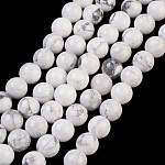Natural Howlite Beads Strands, Round, White, 8mm, Hole: 1mm; about 24pcs/strand, 7.6