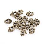 Cadres de perles en alliage de style tibétain, cadmium et, sans plomb, couleur de bronze antique, hamsa main / main de fatima / main de miriam, taille: environ 15.5 mm de long,  largeur de 13 mm, épaisseur de 3mm, Trou: 1mm, intérieur: 5 mm, 690 pcs / 1000 g