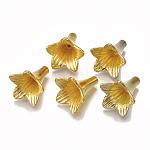 5  - 花弁ccbプラスチックビーズキャップ, 花, ゴールドカラー, 24x22.5x21.5mm, 穴:1.5mm、約350個/500g