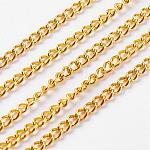 Cadenas retorcidas de hierro sin soldar, cadenas del encintado, con carrete, dorado, 3.3x2.1x0.6mm