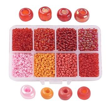 8/0 Perlas de semillas de vidrio, estilo mezclado, redondo, rojo, 3x2mm, agujero: 1 mm, aproximamente 4200 unidades / caja, caja de embalaje: 11x7x3 cm