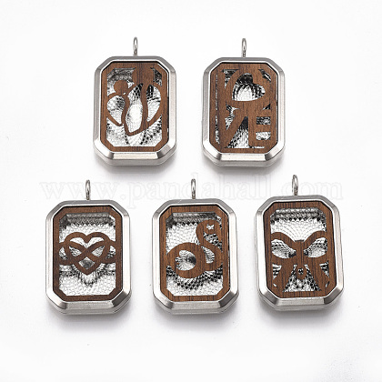 Alloy Diffuser Locket Pendants PALLOY-T057-46-1