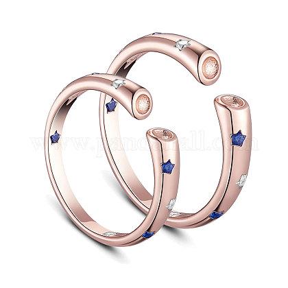 SHEGRACE® anillos de dedo ajustables de plata de ley 925 para parejaJR407C-1