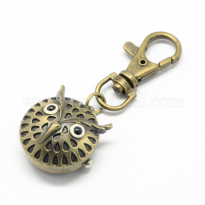 Accesorios de llavero retro reloj de cuarzo de aleación de búho para llaveroWACH-R009-005AB-1