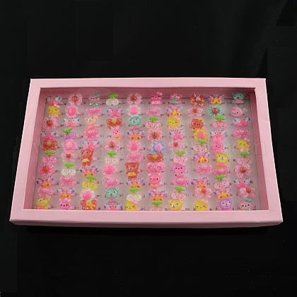 Cute Children's Day Jewelry Plastic Kids Rings for GirlsRJEW-S016-M2-1