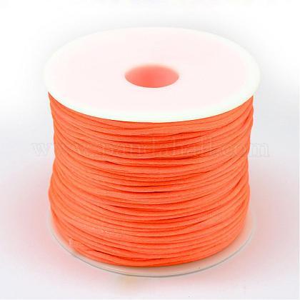 ナイロン糸  ラットテールサテンコード  ダークオレンジ  1.0mm  約76.55ヤード(70m)/ロールNWIR-R025-1.0mm-F172-1