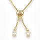 Adjustable Brass Cubic Zirconia Slider BraceletsBJEW-S141-02-5