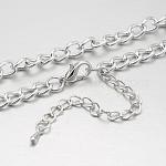 Fabricación de collar de cadena trenzada de cadena de acero, con cierres de pinza de langosta de bronce y las cadenas finales de hierro, Platino, 29.1 pulgada
